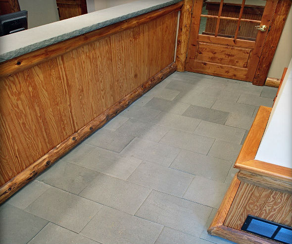 Blue Thermal Finish Flooring & Blue Thermal Finish Countertop with Rocked Edges