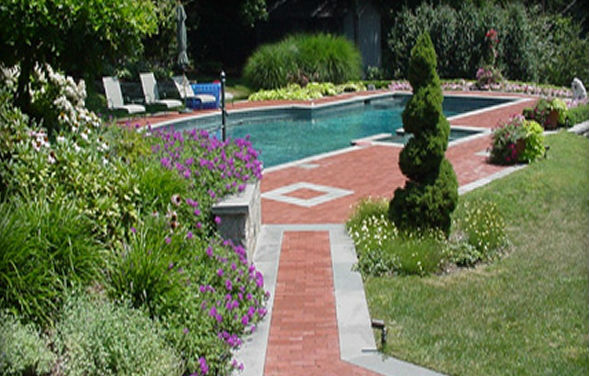 Blue Thermal Finish Pool & Spa Coping, Blue Thermal Border & Accent Bands