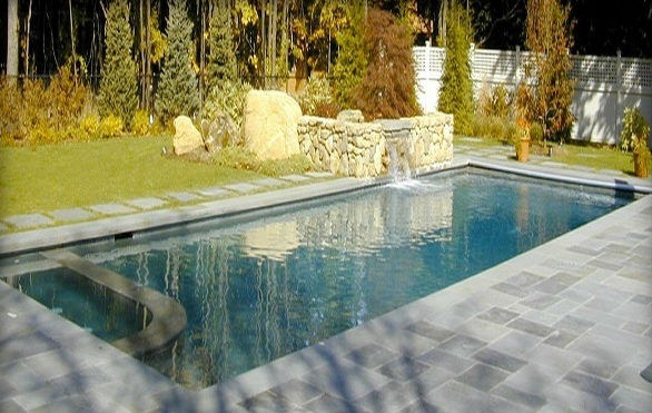 Blue Thermal Finish Pool Coping & Natrual Cleft Blue Decking