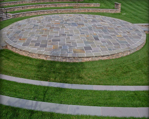 "Full Color Natural Cleft Multiple Pattern Flagstone, 4"" Fieldstone Ashlar Veneer, Natural Cleft Rocked Edge Radial Coping"