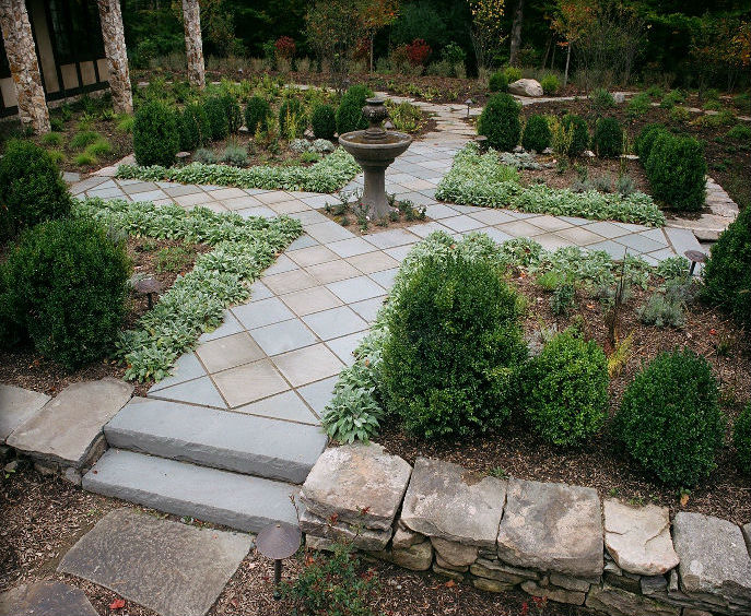 Variegated Thermal Finish Paving & Blue Thermal Rocked Edge Steps