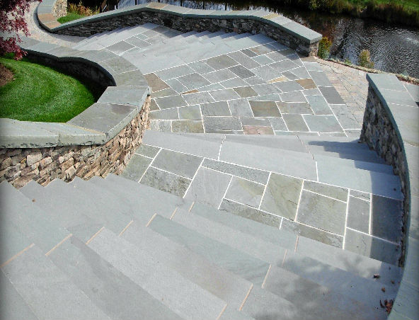 "Blue/Gray Natural Cleft Paving & Rocked Edge Coping, 4"" Fieldstone Ashlar Veneer"