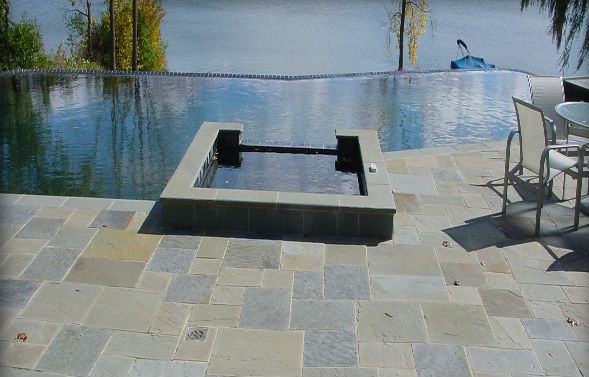 Blue Thermal Finish Pool & Spa Coping, Natrual Cleft Full Color Decking