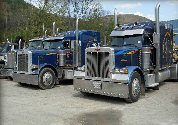 Part of the Johnston & Rhodes Bluestone Co. delivery fleet