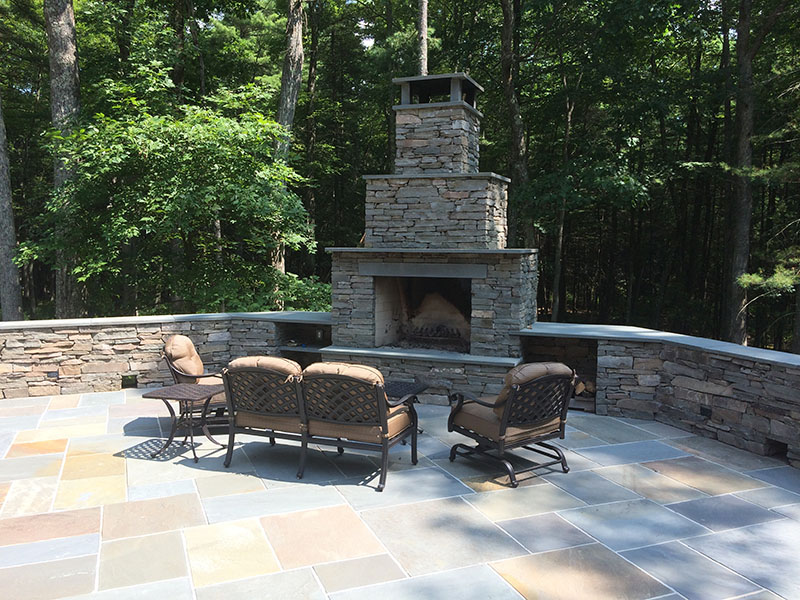 Bluestone Patio, Bluestone Ashlar Veneer, & Fireplace